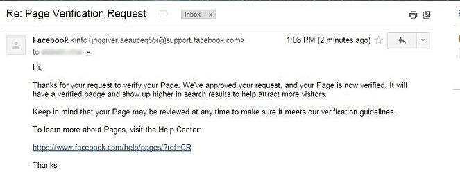 FB page verification Email