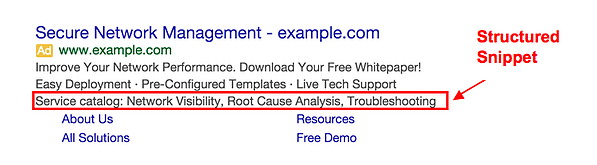 Google Ad Extension Structured Snippets