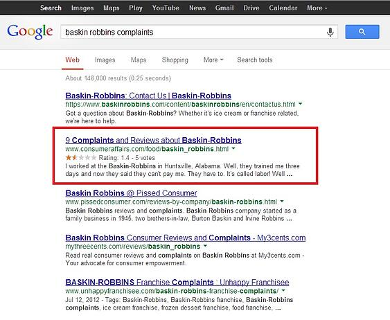 negative consumer affairs listings in google search results