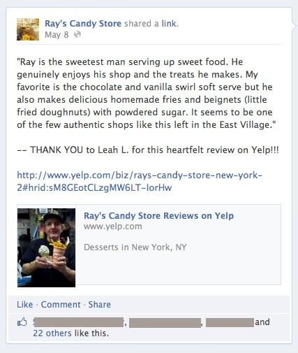 Yelp review posted on Facebook