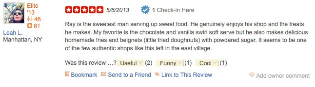 posting a yelp review on facebook